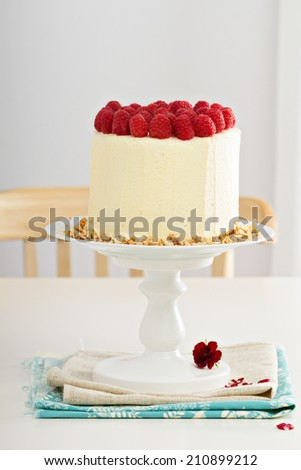 Birthday cake with cream cheese and raspberries - stock photo