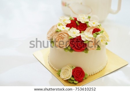 Birthday Cake Images And Flowers ~ Birthday cake flowers on white background stock photo royalty