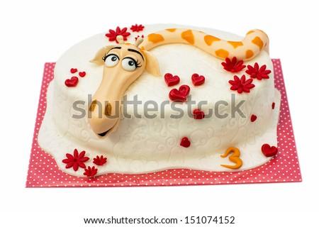Birthday cake with giraffe motif - stock photo