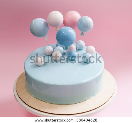 Birthday Cake Light Blue Mirror Glaze Stock Photo Edit Now
