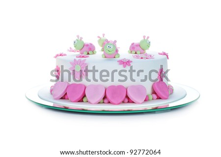 birthday cake with white frosting and ladybugs - stock photo
