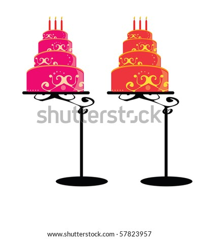 Birthday cakes on stands 1 - jpg version - stock photo
