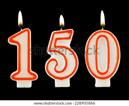 Birthday candle on black background, number 150 - stock photo