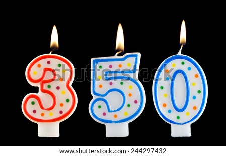 Birthday candle on black background, number 350  - stock photo