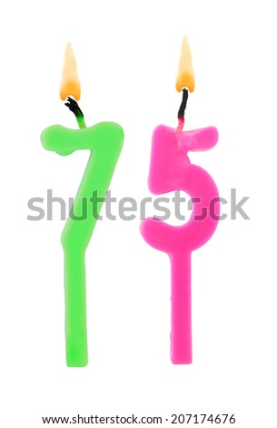 Birthday candle on white background, number 75