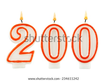Birthday candle on white background, number 200  - stock photo