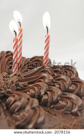 birthday candles and cake - stock photo