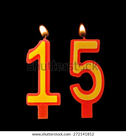 Birthday candles isolated on black background, number 15 - stock photo