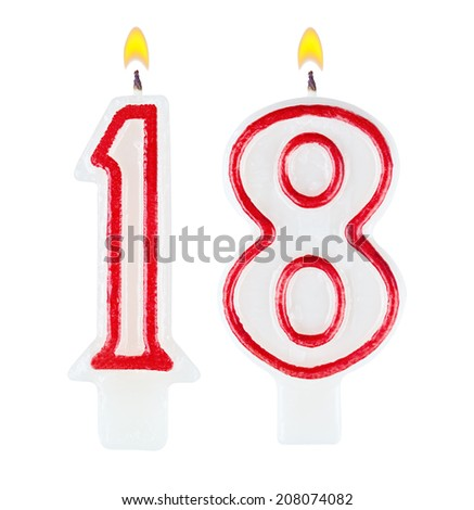 Birthday candles number eighteen isolated on white background - stock photo