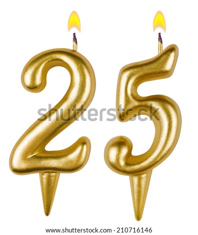 Birthday candles number twenty five isolated on white background - stock photo