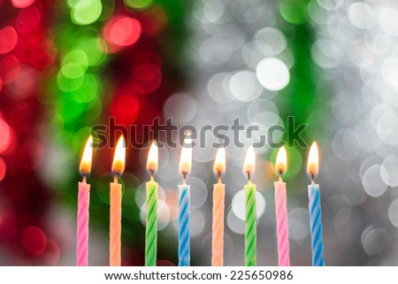 Birthday candles on a beautiful background. - stock photo