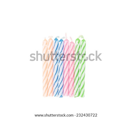 Birthday candles on white background - stock photo