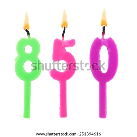 Birthday candles on white background, number 850 - stock photo