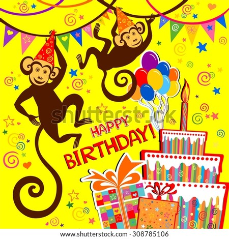 Birthday card. Celebration background with Birthday cake, monkey, balloons, gift boxes and place for your text.  illustration