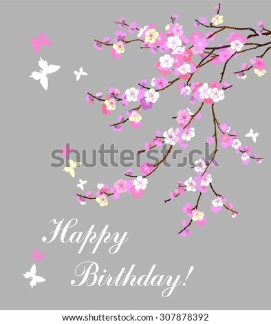 Birthday card. Celebration background with Pink Cherry blossom, butterfly and place for your text.  illustration