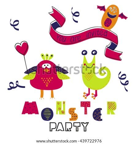 Birthday card design. Monster party invitation. Raster illustration with cute cartoon monsters.
