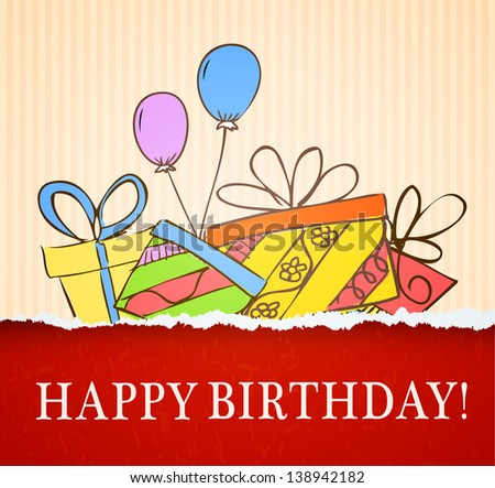 birthday card hand drawn with gifts. Raster copy of vector illustration - stock photo