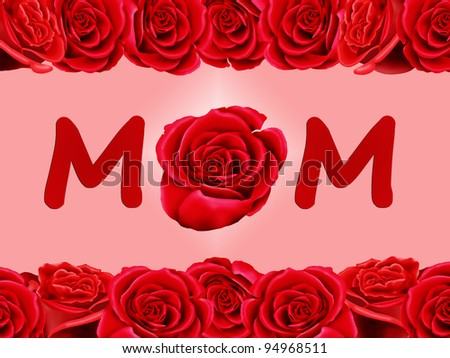 Birthday card to mum with a single red rose isolated on a pink background - stock photo