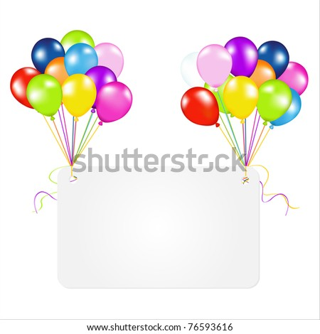 Birthday Card With Balloons, Isolated On White Background - stock photo