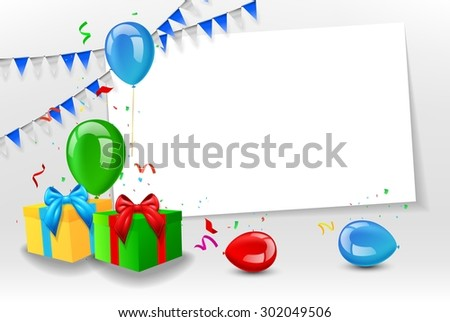Birthday card with colorful balloons - stock photo