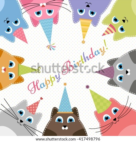 Birthday card with cute colorful cats. Raster version - stock photo