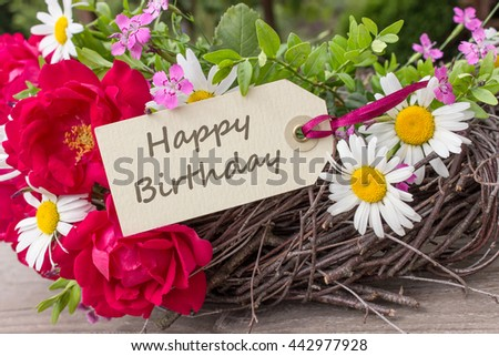 Birthday Card Summer Flowers Happy Birthday Stock Photo Edit Now