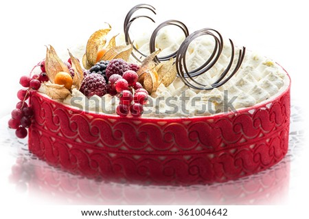 birthday colorful cream cake with chocolate swirls and fruits, patisserie, sweet dessert, photography for shop, delicious birthday cake - stock photo