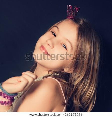 Birthday concept. Portrait of happy girl - stock photo