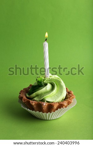 Birthday cup cake with candle on  green background - stock photo