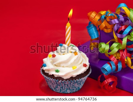 Birthday Cupcake - stock photo