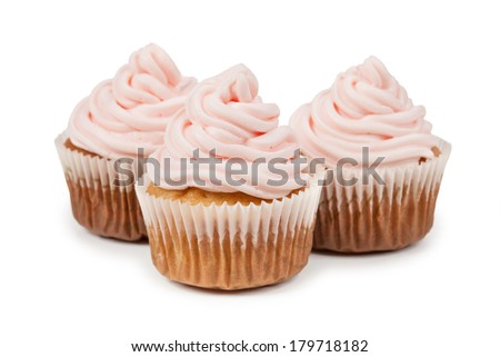 Birthday cupcake isolated on white background - stock photo