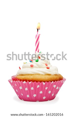 Birthday cupcake with a candle - stock photo