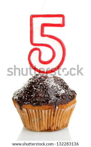 Birthday cupcake with chocolate frosting isolated on white - stock photo