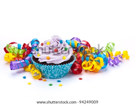 Birthday Cupcake with Colorful Ribbon - stock photo