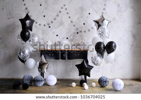 Birthday Decorations Black White Style Balloons Stock Photo Royalty