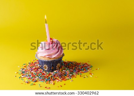 Birthday gift decoration. Cupcake with candle on bright background - stock photo