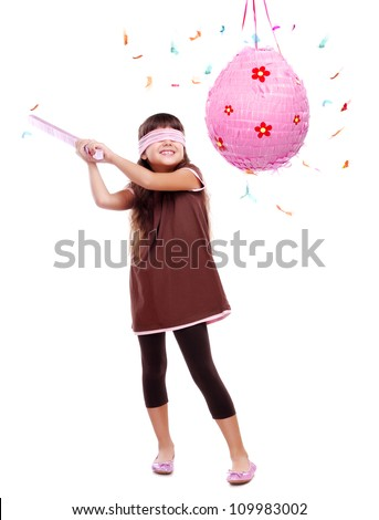 Birthday girl with pinata over the white background - stock photo
