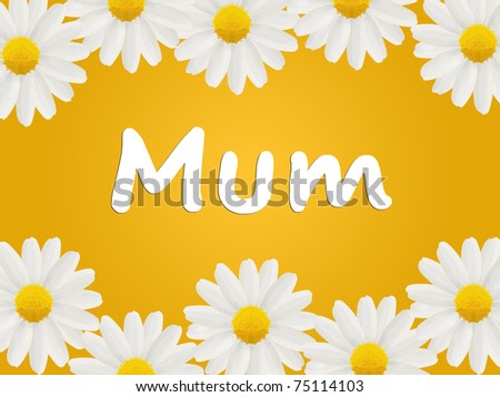 Birthday or Mother's Day card to Mum with daisies - stock photo