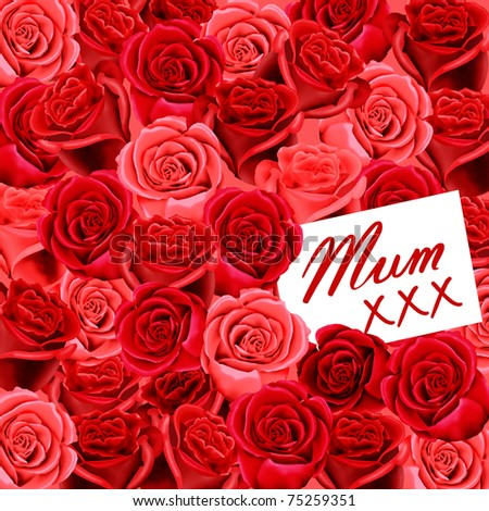 Birthday or Mother's Day card to Mum with roses and kisses - stock photo