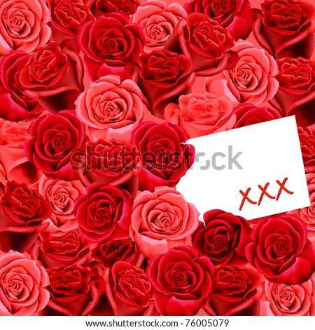 Birthday or Mother's Day card with roses and blank space for your own text - stock photo