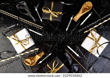 Birthday Party Accessories Set Gift Boxes Stock Photo Safe To Use
