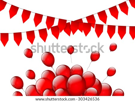 Birthday or party background with flags and balloons  - stock photo