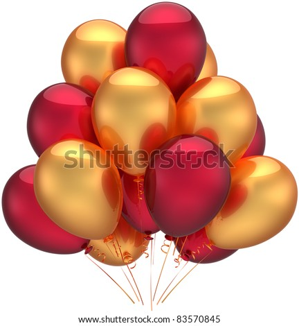 Birthday party balloons gold decoration holiday icon golden red. Anniversary celebration retirement occasion concept. Childish happy joy life events icon. 3d render isolated on white background - stock photo