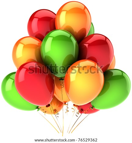 Birthday party balloons red orange green decoration colorful. Holiday celebration anniversary retirement greeting card design element. 3d render isolated on white background - stock photo