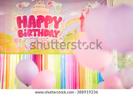 Birthday party decoration with colourful balloons. - stock photo