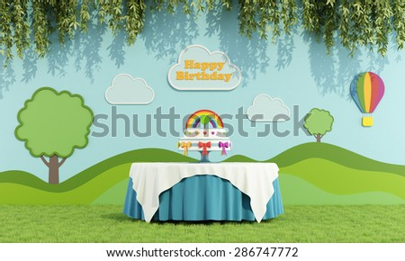 Birthday party in a garden with round table with cake and colorful decoration on wall - 3D Rendering - stock photo