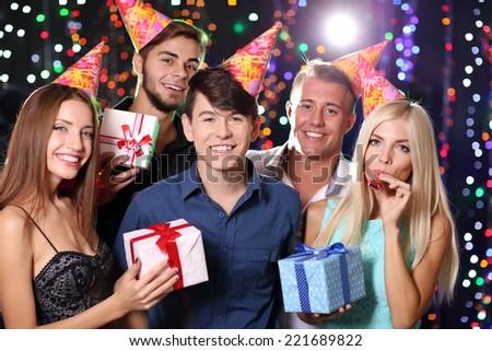 Birthday party in club - stock photo