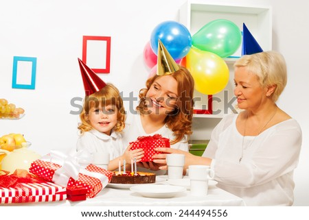 Birthday party in family with little girl
