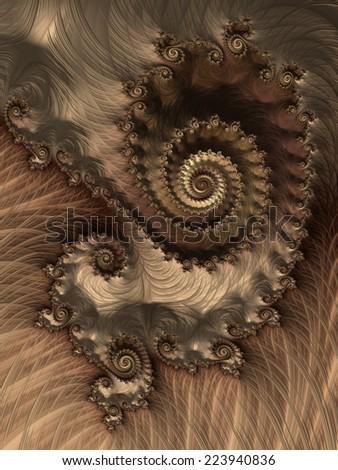 Birthday party invitation card - brown spiral fractal design background - stock photo