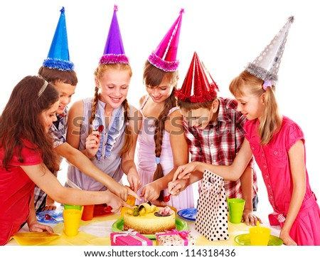 Birthday party of group teen with cake. Isolated. - stock photo